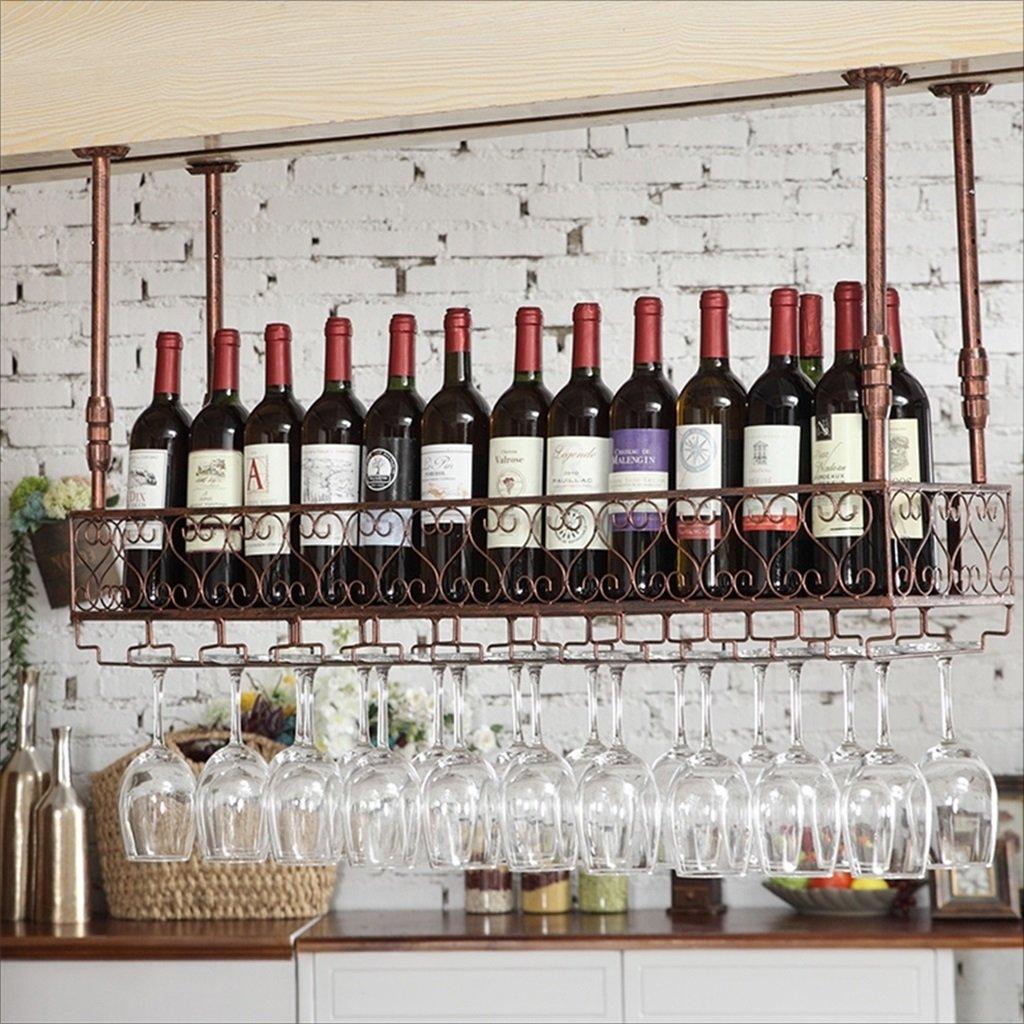 バーサスペンションバーカウンターワインラックレストラン家庭用ワイングラス倒立ラックレトロアイアンワインラック (色 : B, サイズ さいず : 80 * 25cm) B07GSM1GVN 80*25cm|B B 80*25cm