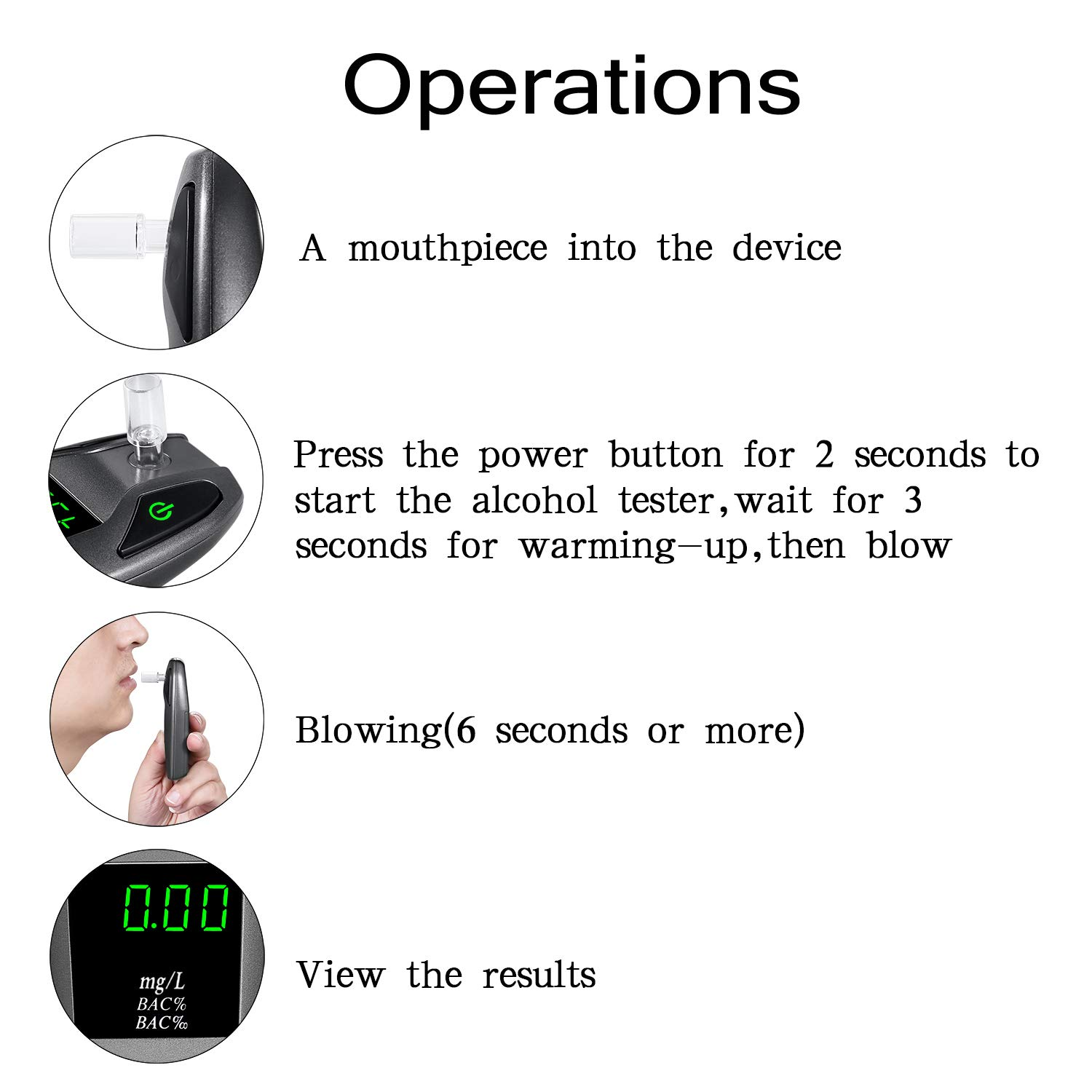 JASTEK Breathalyzer, [2019 New Version] Fuel Cell Sensor Digital Breath Alcohol Tester and Professional Grade Blood Alcohol Content Detector Made of Zinc Alloy by JASTEK (Image #7)