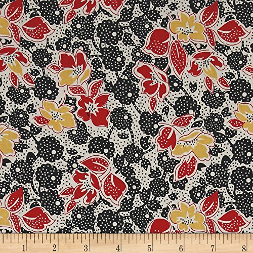 Penny Rose Sorbet Main Black Fabric By The Yard (Rose Sorbet)