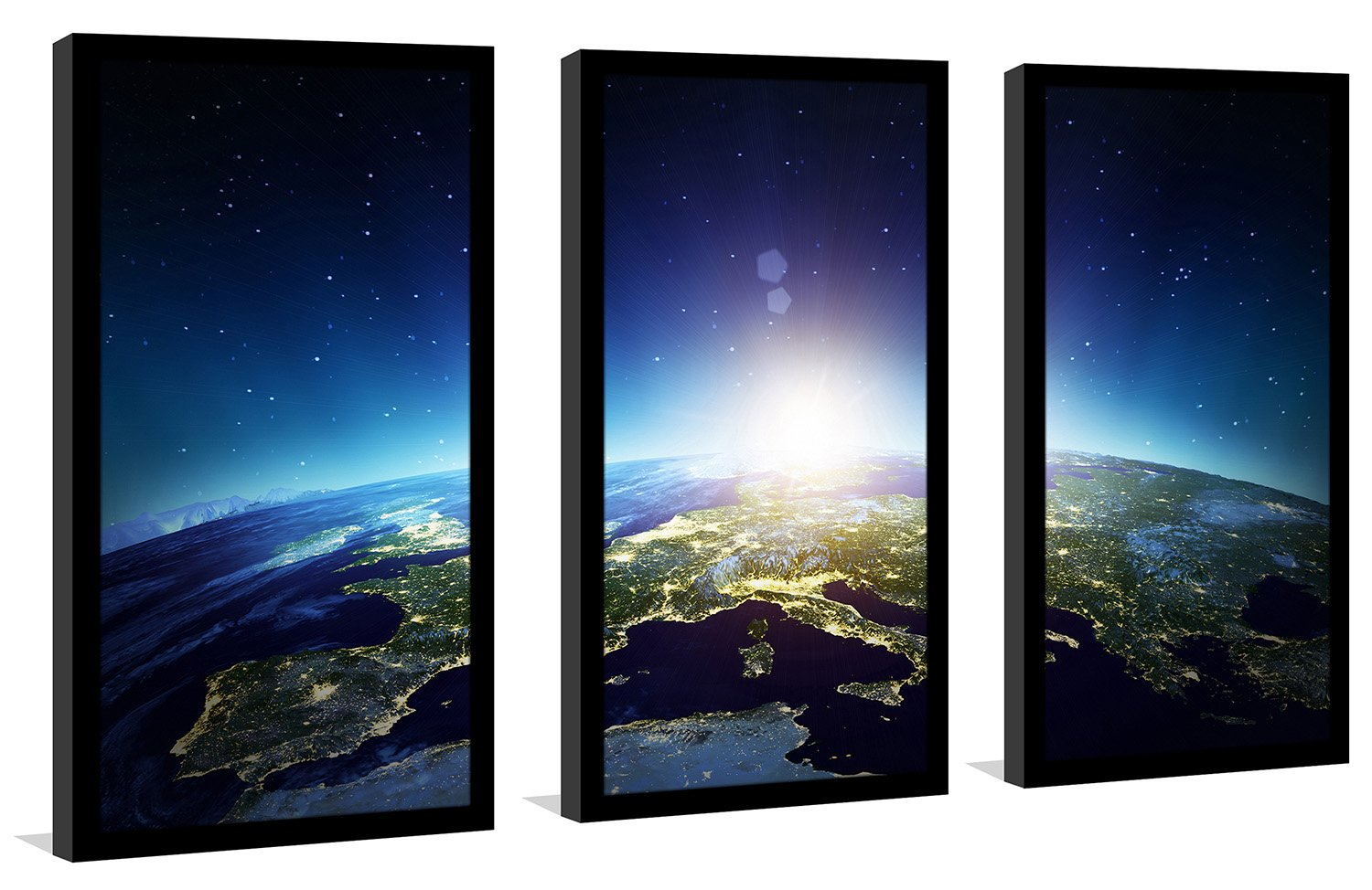 Picture Perfect InternationalEurope in Space Framed Plexiglass Wall Art Set of 3