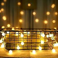 Guirlande Lumineuse Solaire Exterieure Guinguette - 10M 80 Ampoules Guirlande Lumineuse LED à Piles Petites Boules Blanc Chaud Décoration Romantique pour Fête Noël Mariage Anniversaire Soirée Party