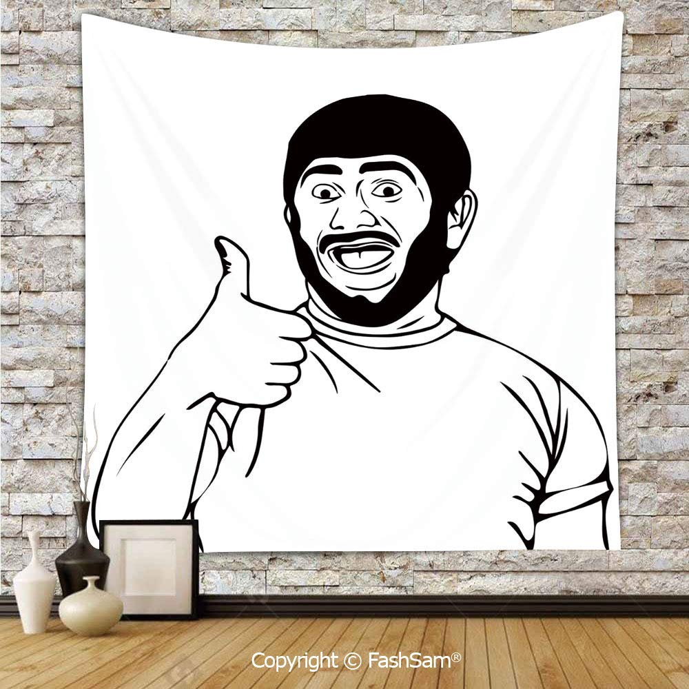 FashSam Polyester Tapestry Wall LOL Happy Guy with Thumbs Up Bodily Gesture Cool Sounds Good Style Graphic Hanging Printed Home Decor(W59xL90)