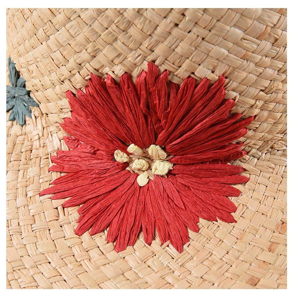 ZLQQLZ Women Cap Leisure Sun Hat Lafite Grass Spring Summer Hat Distaff Travel Sun Hat Embroidered Dome Big Visor Sunshade Holiday Beach Sun Hat Hat Color : Light Khaki, Size : 56-58CM