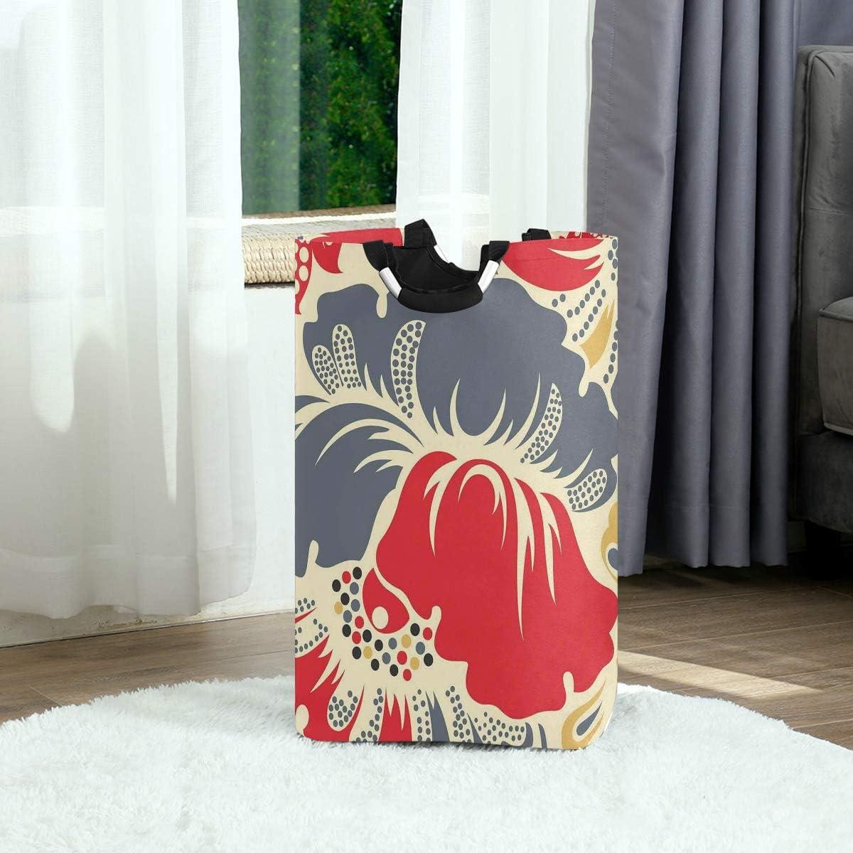YCHY Panier à Linge Pliable,Branches de Fleurs de Prune Chinoises Motif bohème Zen Oriental Oriental,Sale Sac à Linge Poubelle Organiseur de Rangement pour Jouets 6