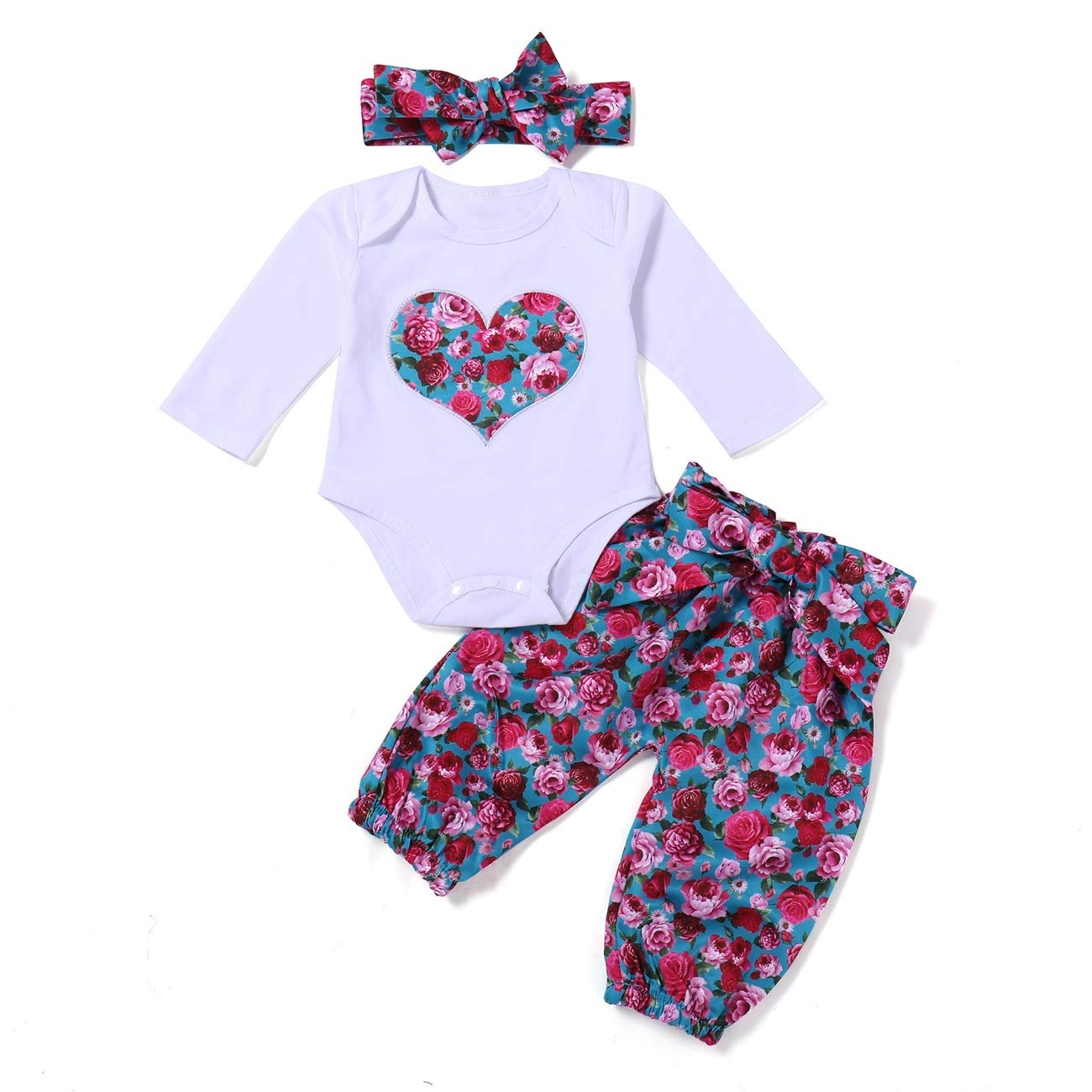 WOSENHK Newborn Baby Girls Clothes Love Heart Floral Printed Long Sleeve Romper Flower Pants Headband Outfits Set (red, 70/3-6months)
