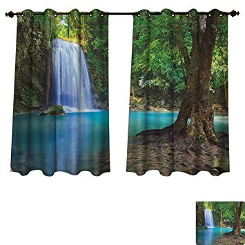 pricetextile woodland blackout thermal backed curtains for living rh amazon co uk Living Room Curtains and Blinds Red Curtains Living Room