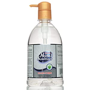 Hand Sanitizer Alcohol-Free Gel for All Skin Types - Made in USA - Aloe Vera and Moisturizer for Soft Hands - 16.9 Oz (500mL) with Pump