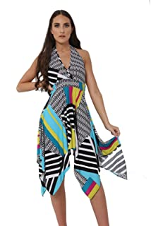 60659538fd19 Momo&Ayat Fashions Ladies Floral Chain Halterneck Backless Midi Hanky Dress  UK Size 8-26