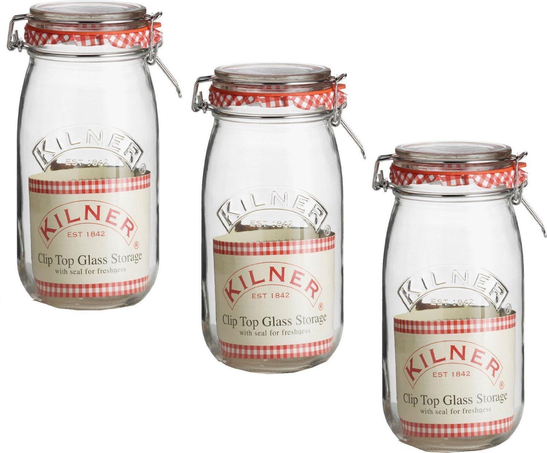 KILNER ROUND 1.5 LITRE CLIPTOP JAR (set of 3)