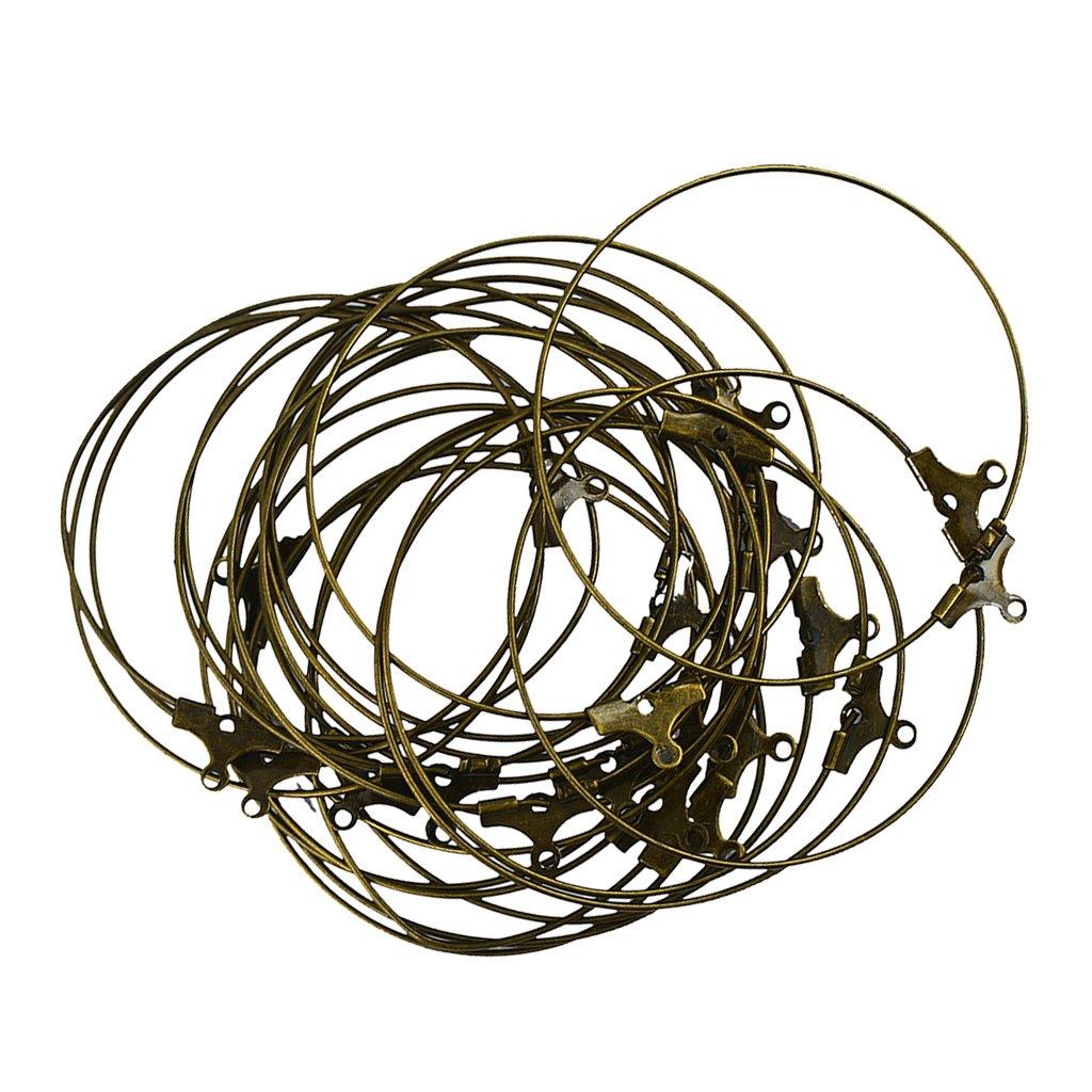 Baosity 20 Pieces Wholesale Beading Hoop Loop Earring Findings Components Loop 40mm - Copper