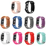 GinCoband 10PCS Fitbit Charge 2 Bands for Fitbit Charge 2 Fitness Wristband with Metal Clasps