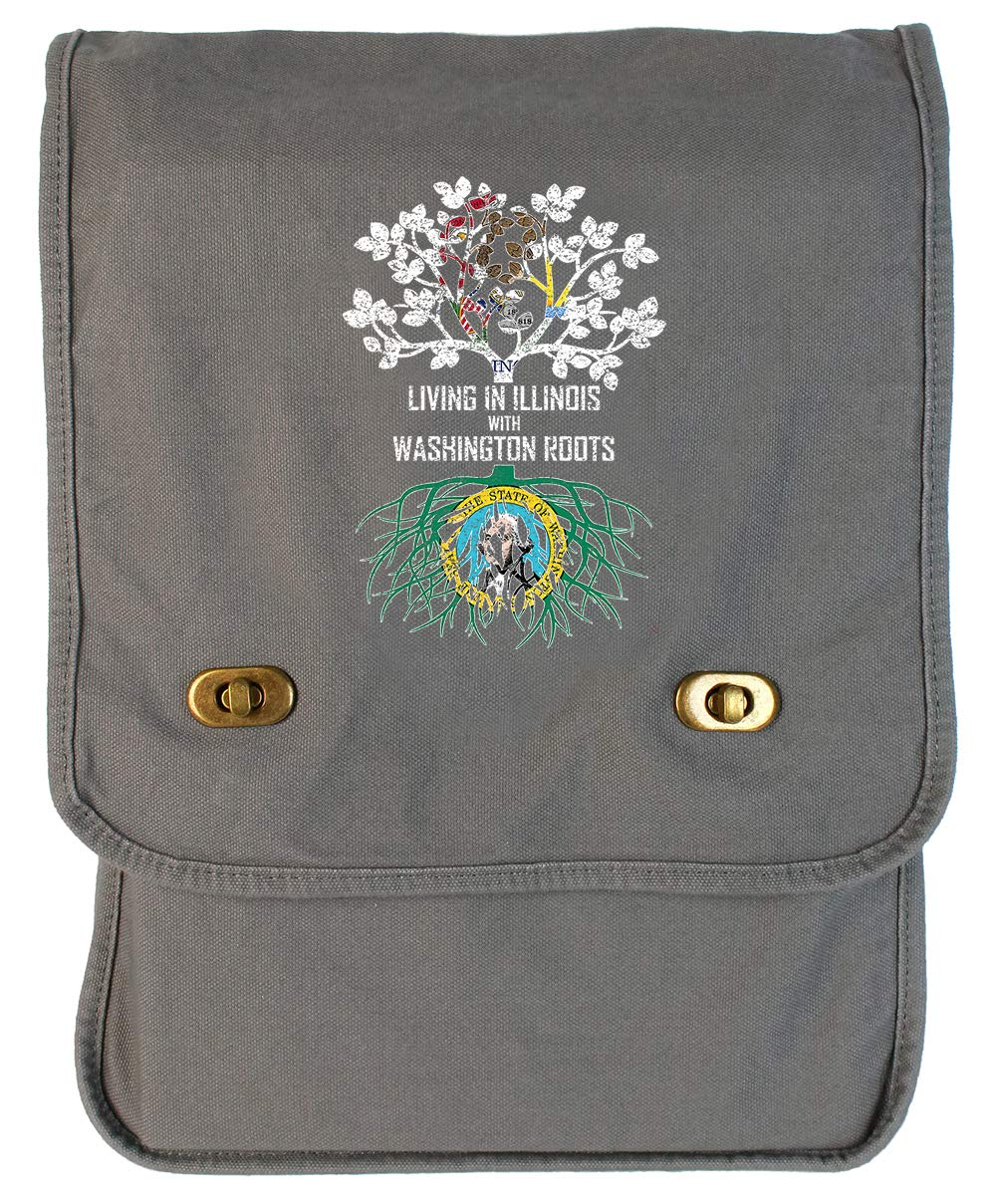 Tenacitee Living In Illinois with Washington Roots Grey Brushed Canvas Messenger Bag