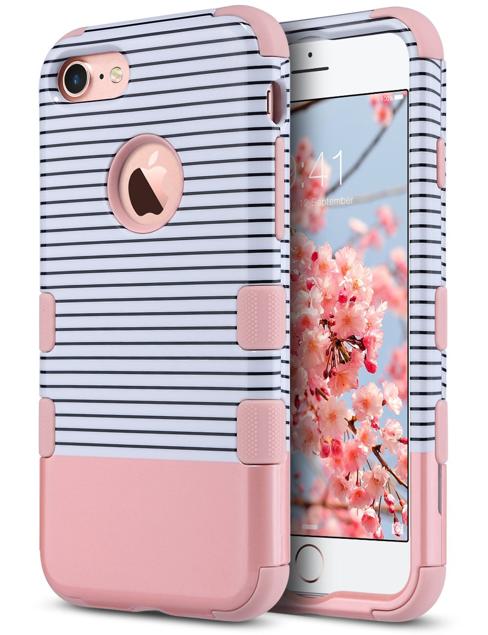 ULAK iPhone 7 Case, ANTI-SLIP Heavy Duty Protection Shockproof Soft Rubber & Silicone Dual Layer Protective Case for Apple iPhone 7 4.7 inch, Rose Gold Stripes