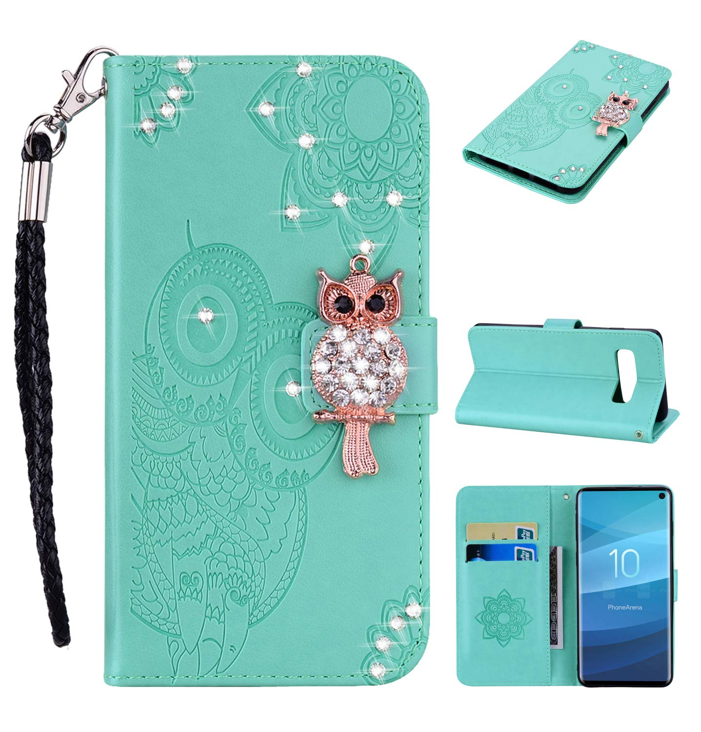 COZY HUT Samsung Galaxy S10 Plus Case, Premium Slim PU Leather Flip Wallet [Diamond Owl] [Magnetic Closure] [Card Slots] Stand Function Cover Case for Samsung Galaxy S10 Plus - Green diamond owl