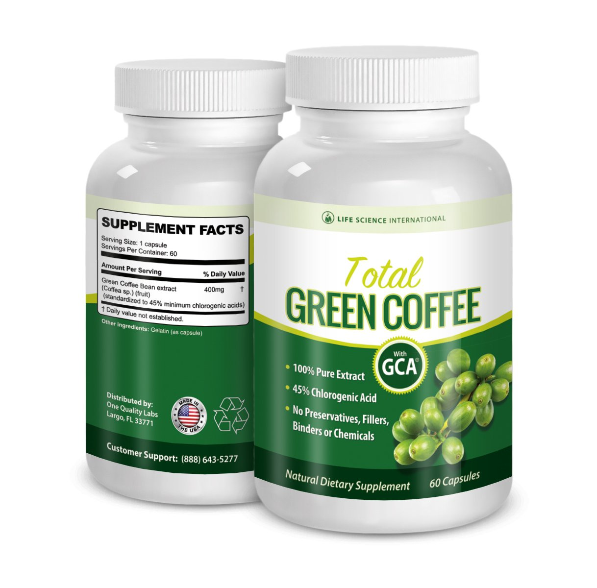 Green Coffee Diet Pills Total Green Coffee 100% Pure Extract - 60% Chlorogenic Acid Diet Pills, by Life Science International