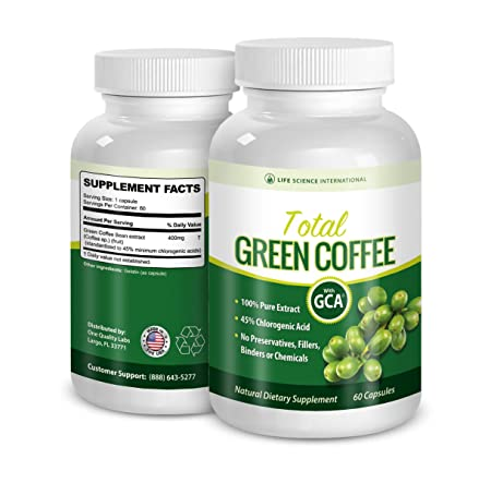Green Coffee Diet Pills Total Green Coffee 100 Pure Extract – 60 Chlorogenic Acid Diet Pills,