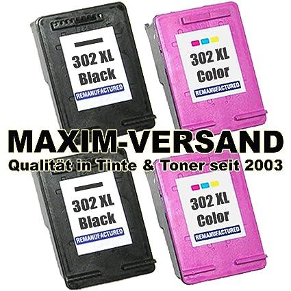 Juego de cartuchos de tinta (4 XXXL) para HP 302 XL Black ...