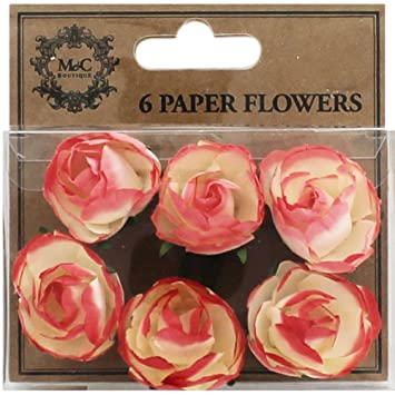 Coral paper flowers pack of 6 amazon kitchen home coral paper flowers pack of 6 mightylinksfo