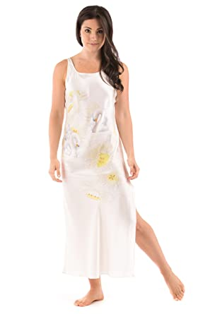 35e0b715e9 White Silk Long Nightgown for Women - Swans and Daffodils (Small) - Beautiful  Anniversary Romantic Lingerie Clothing  ...