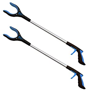 RMS 2-Pack 32 Inch Extra Long Grabber Reacher with Rotating Gripper - Mobility Aid Reaching Assist Tool, Trash Picker, Litter Pick Up, Garden Nabber, Arm Extension (Blue)