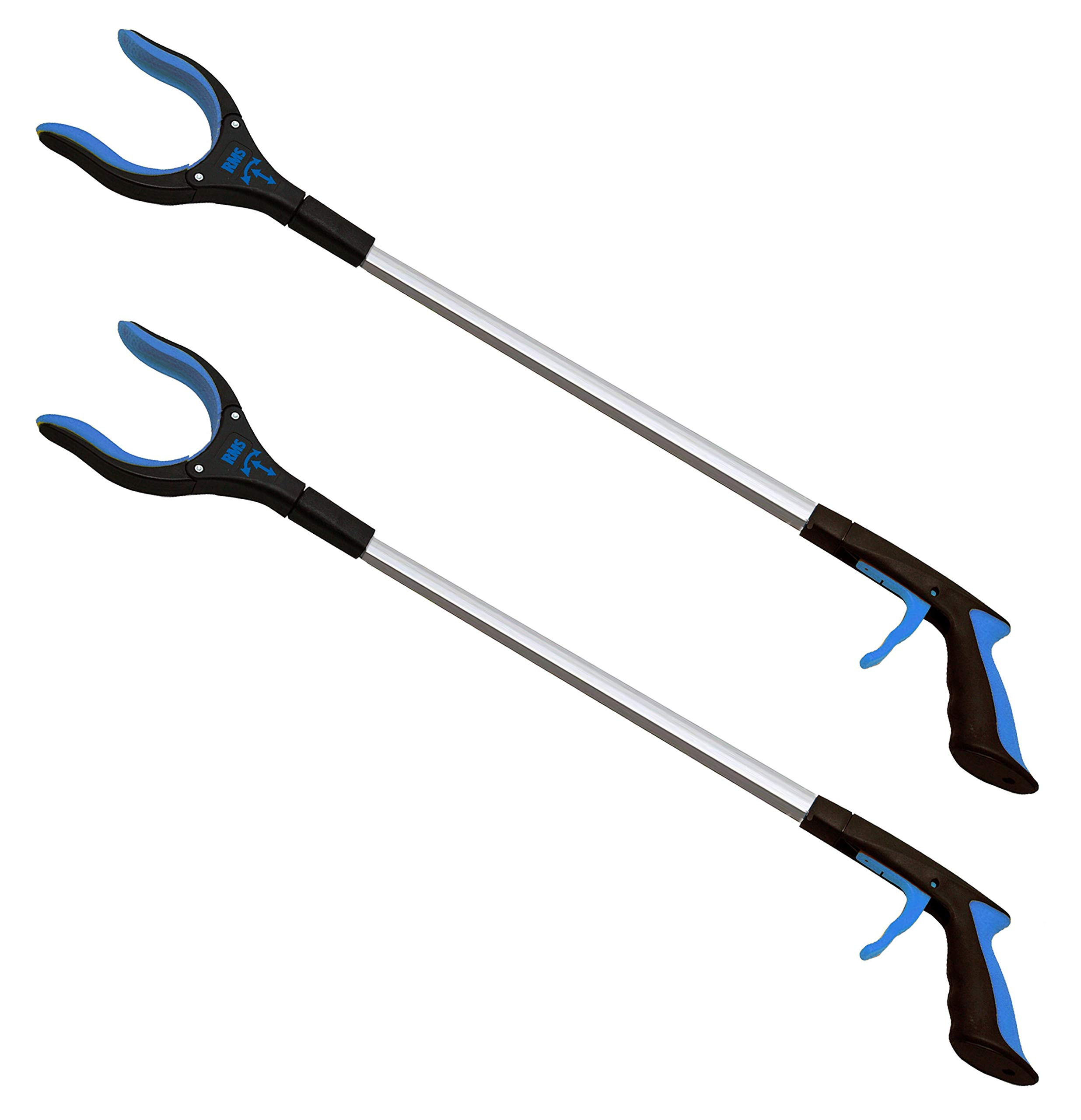 RMS 2-Pack 32'' Extra Long Grabber Reacher | Rotating Gripper | Mobility Aid Reaching Assist Tool | Trash Picker, Litter Pick Up, Garden Nabber, Arm Extension (Blue)