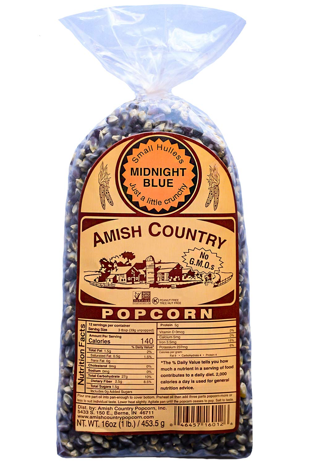 Amish Country Popcorn - Midnight Blue (1 Pound) Premium Kernels - Old Fashioned, Non GMO, Gluten Free - with Recipe Guide by Amish Country Popcorn