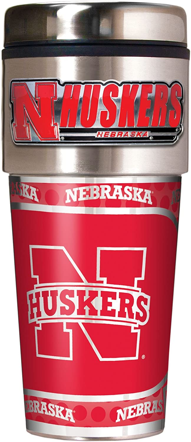 16-Ounce Stainless Steel and Black Vinyl Great American Products NCAA Metallic Travel Tumbler