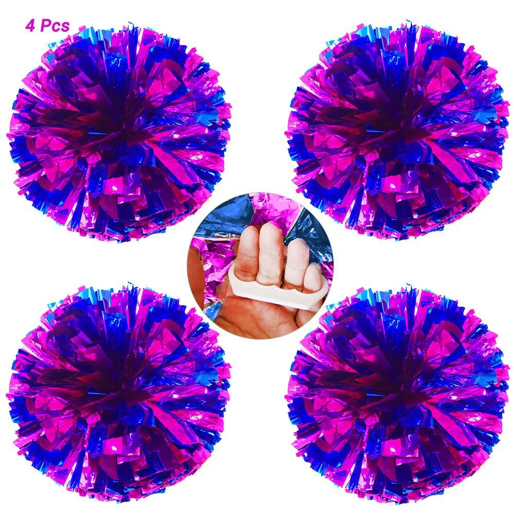 AUHOTA 4Pzs Pompones de Animadora con Dedo-simp/ático Anillo Cheerleading Pomp/ón Mano Flores de Met/álico para Deportes Aclamaciones Pelota Baile Fancy Vestir Noche Fiesta-80g