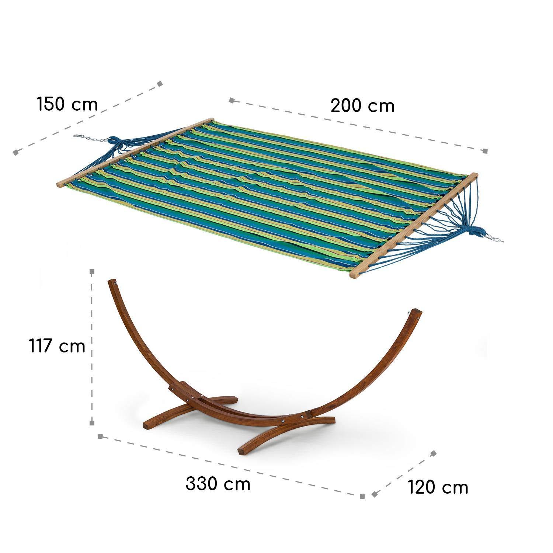 Blumfeldt Bali STP Swing /• Amaca /• Altalena Basculante /• Struttura in Legno di Larice /• Tessuto 65/% Cotone e 35/% Poliestere /• Stylish Comfort /• Portata Massima 160 kg /• 200x150 cm /• A Righe