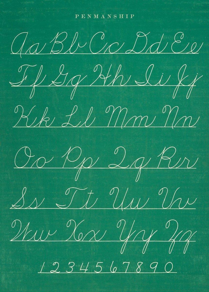 Cavallini & Co. Chalkboard Penmanship Chart Decorative Decoupage Poster Wrapping Paper Sheet WRAP/PEN