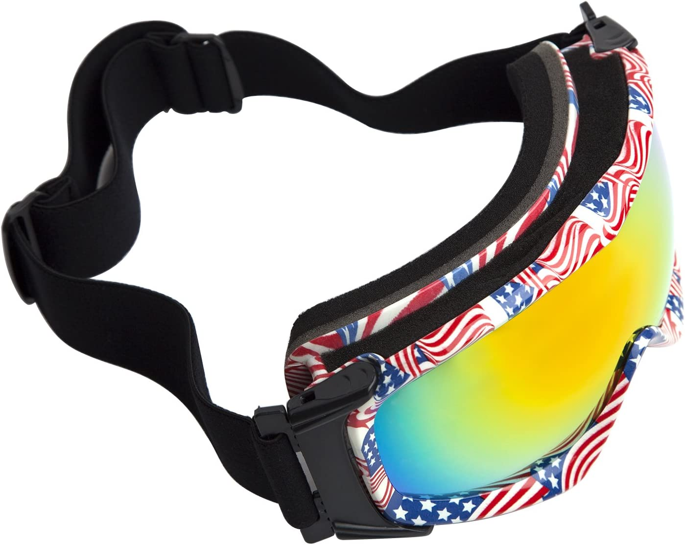 Ski Goggles Adult Flag Pattern TPU Frame Ca Pc Anti-fog Double Orange Lens Snow Goggles