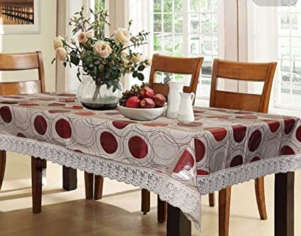 Kuber Industries Circle Design PVC 6 Seater Dining Table Cover - Brown