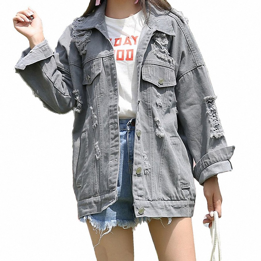 Huiwa Womens Denim Jacket Hole Ripped For Vintage Washed Jeans Loose at Amazon Womens Coats Shop
