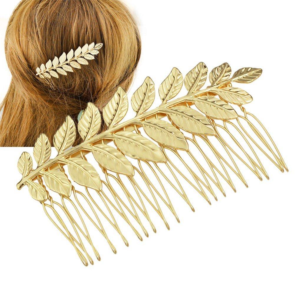 Peine de pelo de la boda, oro de color hoja clip nupcial accesorio para las ocasiones de la boda Frcolor