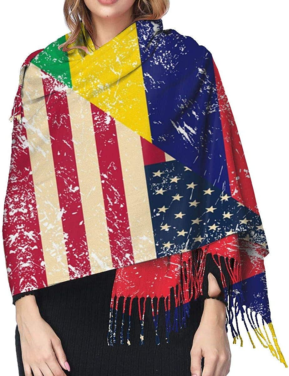 American and Mauritius Retro Flag Cashmere Scarf Shawl Wraps Super Soft Warm Tassel Scarves For Women Office Worker Travel