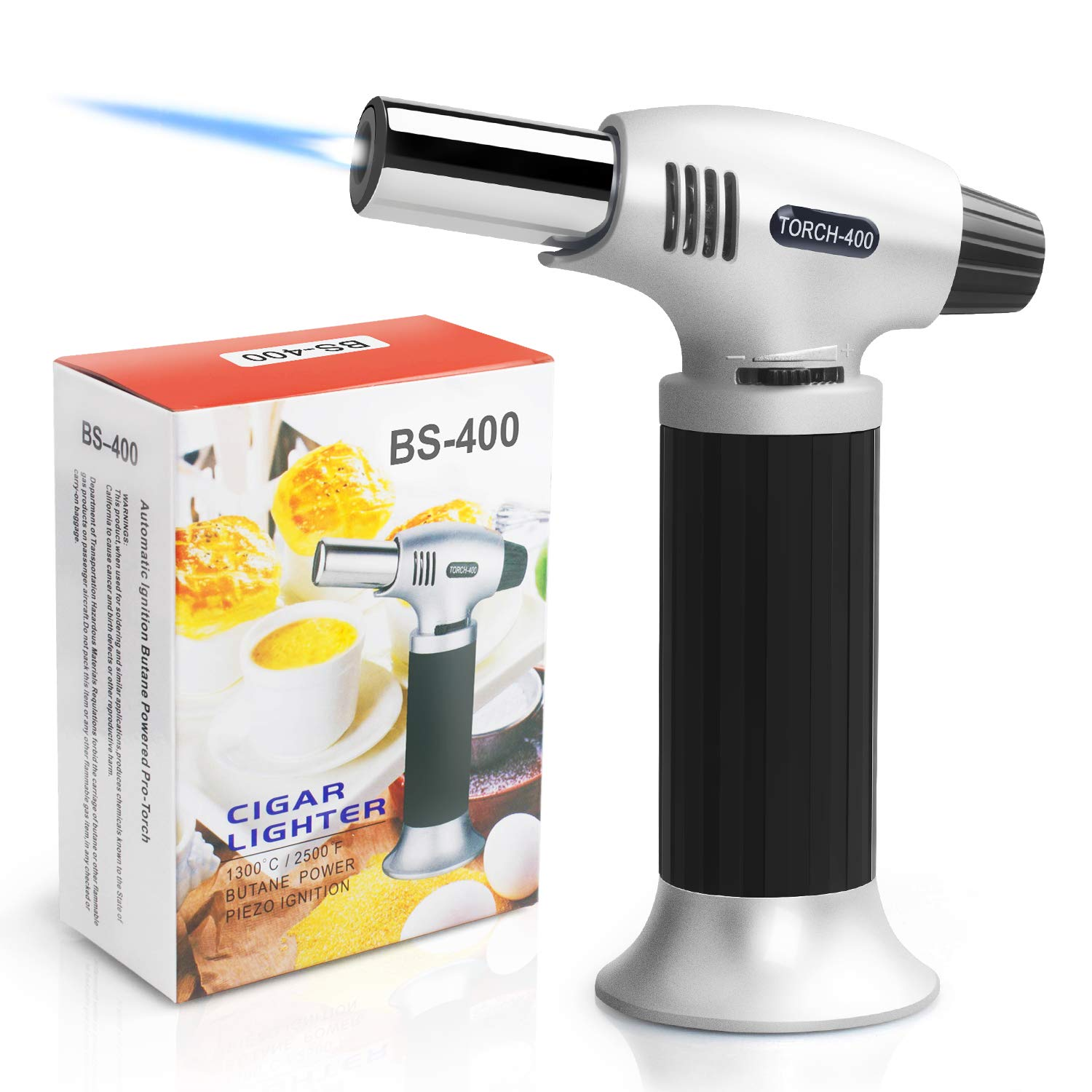Authenzo Kitchen Butane Torch Lighter (Butane Gas Not Included,Black) by Authenzo