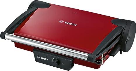 Bosch TFB4402V - Grill de contacto, 1.800 W, 3 posiciones de la parrilla, termostato regulable, color rojo/negro antracita