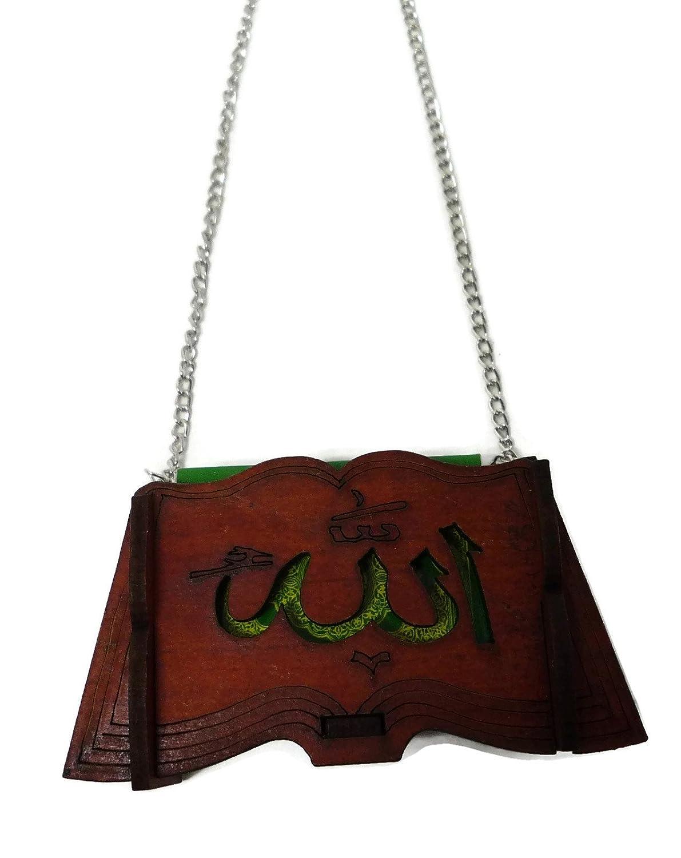 Muslim Car Hanging Decoration Islamic Mini Al-Quran w/ Engraved Allah  Arabic Word on Wooden Small Box Car Ornament