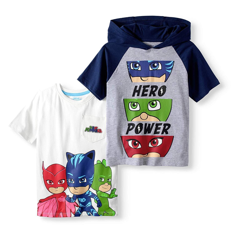89e205d07 Amazon.com: PJ Masks Short Sleeve T-Shirt - 2 Pack of PJMASKS Shirts -  Catboy, Gekko, Owlette Pocket T-Shirt & Hooded Shirt (4): Clothing