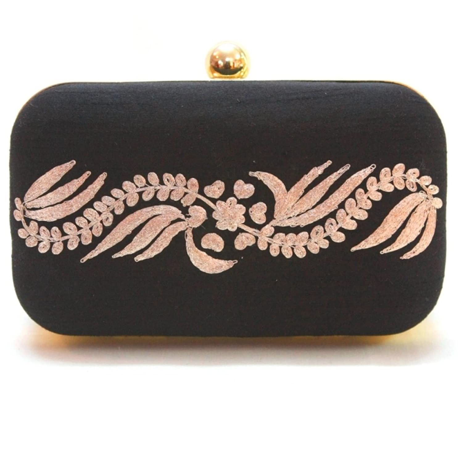 The Floral Frill - Stylish Embroidered Clutch (black)