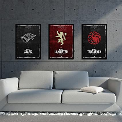 Amazon Com Set Of 3 Game Of Thrones Poster Sets 3 Pieces Framed