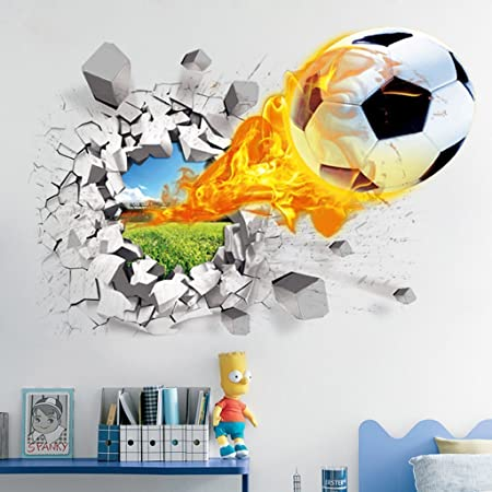 3d Football Wall Stickers Living Room Bedroom Decal Cartoon Boys