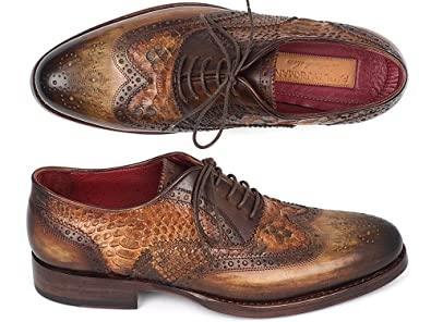 Goodyear Welted Camel Genuine Python & Brown Calfskin Wingtip Oxfords Shoes (ID#27PT-CMLBRW)