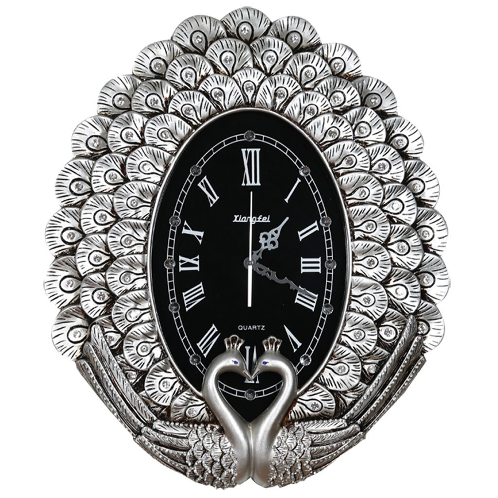 ヨーロッパスタイルのリビングルーム大きな壁時計クリエイティブな孔雀の壁時計の寝室スーパーサウンドオフの懐中時計現代創造的な石英時計 (Color : Silver) B07D5PB7VK Silver Silver
