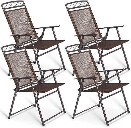 Amazon.com: Giantex juego de 4 sillas plegables para patio ...