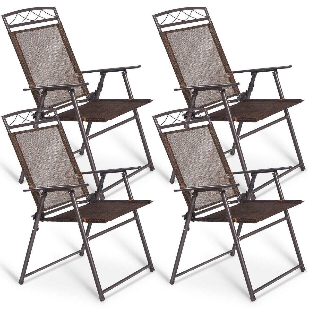 Giantex Set of 4 Patio Folding Sling Chairs Steel Camping Deck Garden Pool Backyard Chairs by Giantex