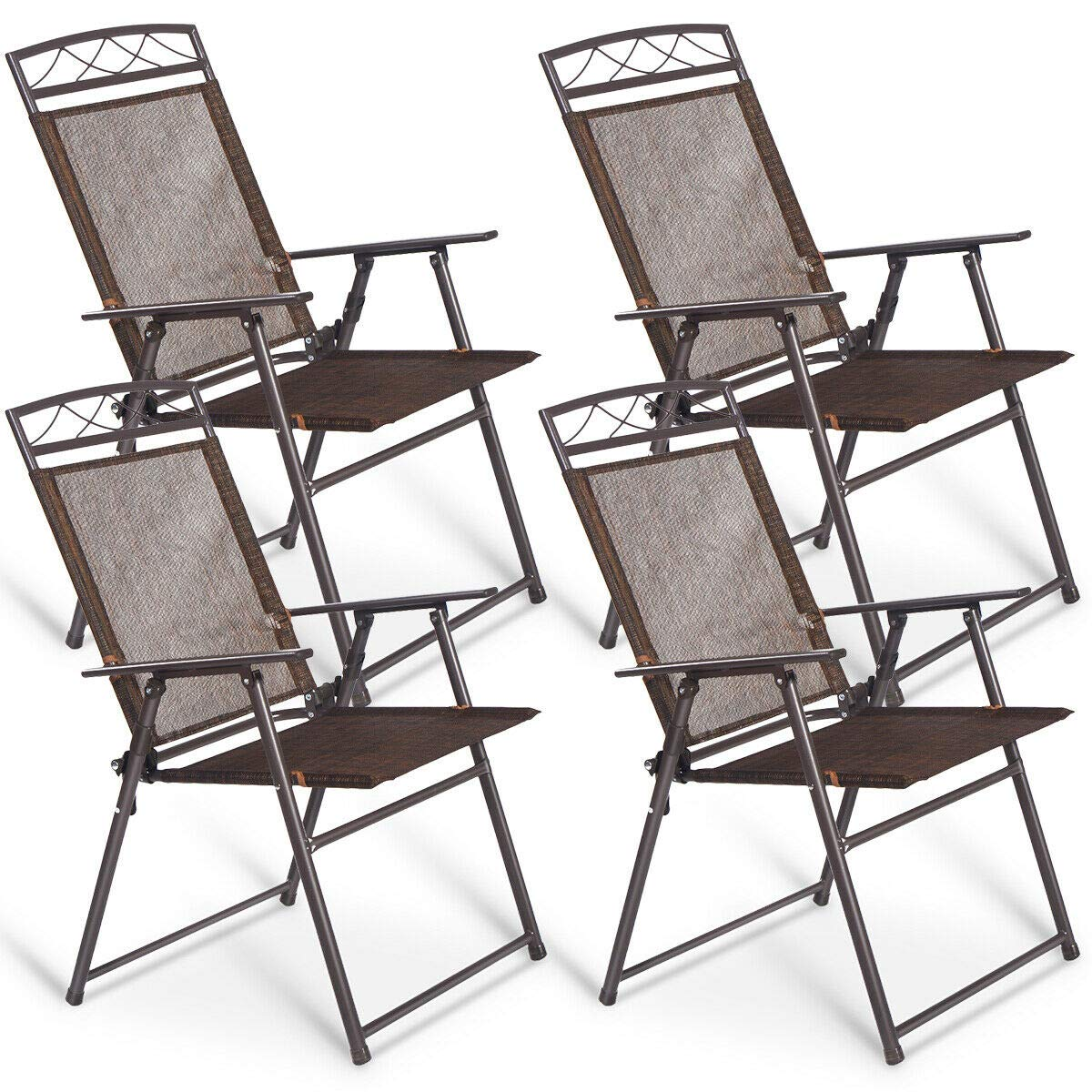 zazza95shop Set 4 Outdoor Patio Home Furniture Decor Folding Sling Back Chair Utility Functional Summer Lounge Coffee Color Durable Steel Frame UV Resistant Textylene Fabric