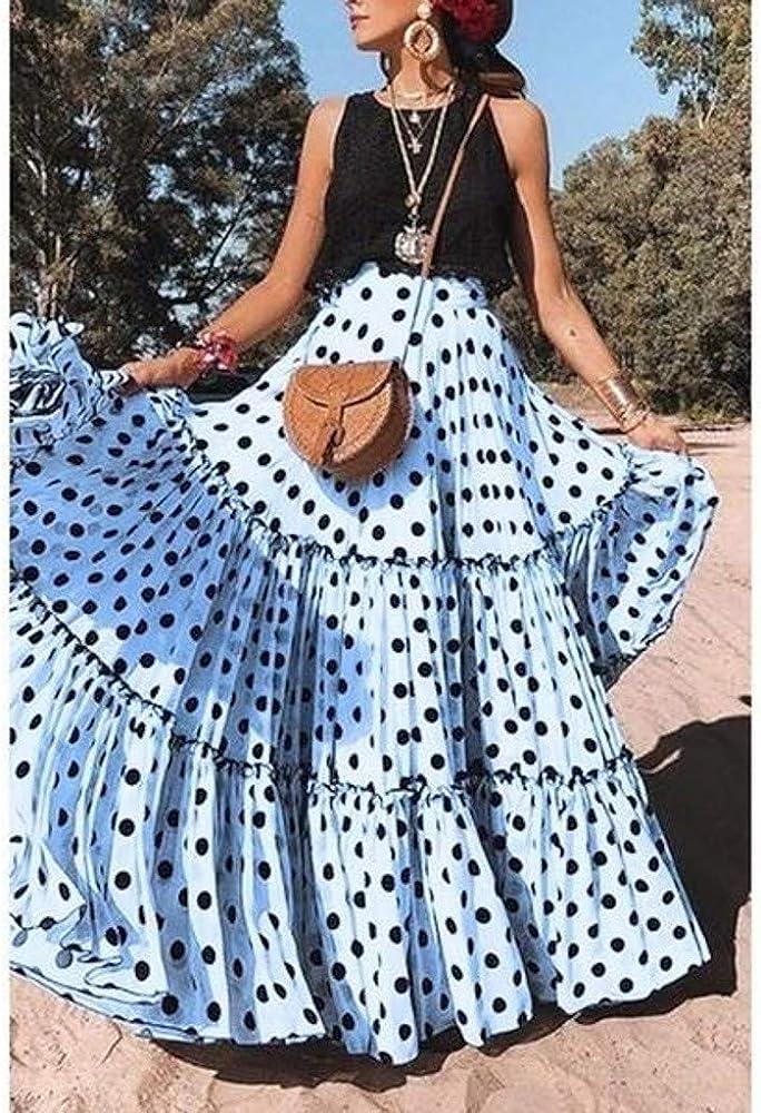 Skang Mujer Cintura Alta Falda Larga con Lunares de Estampada ...