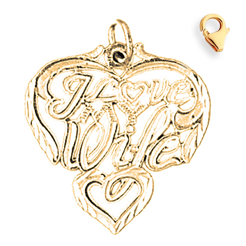 26mm Silver Yellow Plated I Love My Wife Charm
