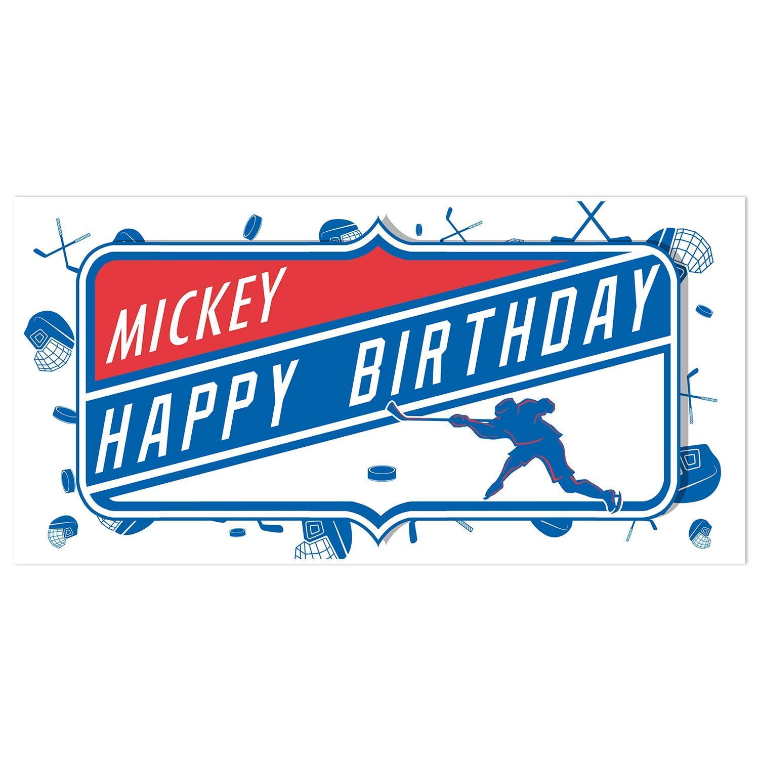 Hockey Birthday Banner  Personalized Navy And Yellow Party Backdrop